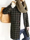 (モノマート) MONO-MART メルトン ステンカラーコート チェスターコート 起毛 コート ロング丈 アウター メンズ ウィンドウペン【チェスター】 Lサイズ