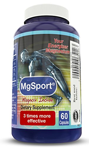 High Absorption Magnesium for Leg Cramps, Eases Restless Leg - with B6, D and E, Clinically Tested - 380mg Per Capsule, 60 Servings - No Artificial Colors, No Stearates, Gluten Free