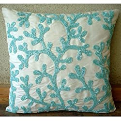 Sea Weeds - Throw Pillow Covers - Silk Pillow Cover with Beaded Embroidery