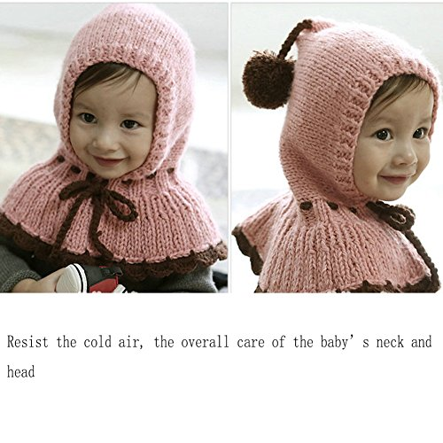 Bluestar Baby Cute Knit Hats for Fall Winter, Baby Thick Warm Neck Head Hats Caps (Red)
