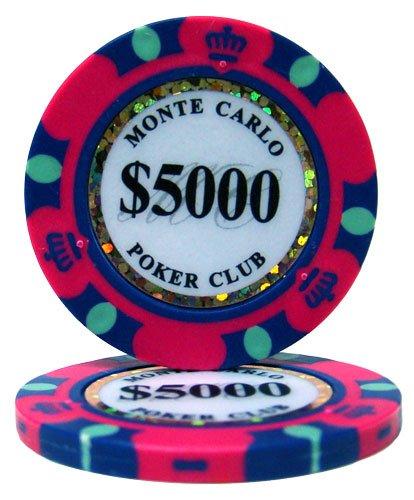 【ノーブランド品】モンテカルロ 13.5g ポーカーチップ 25枚セット ピンク $5,000