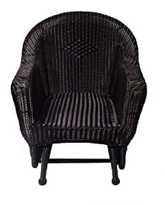 36 Black Resin Wicker Single Glider Patio