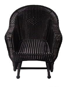 36 Black Resin Wicker Single Glider Patio Chair Patio L
