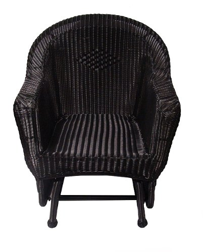 "36"" Black Resin Wicker Single Glider Patio Chair front-976949"