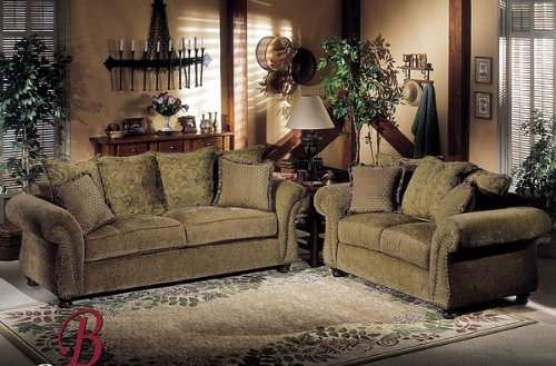 Buy Low Price Benchley 2PC Paris Olive Fabric Sofa Couch Loveseat Set (VF_BCL-PARIS-OLIVE)