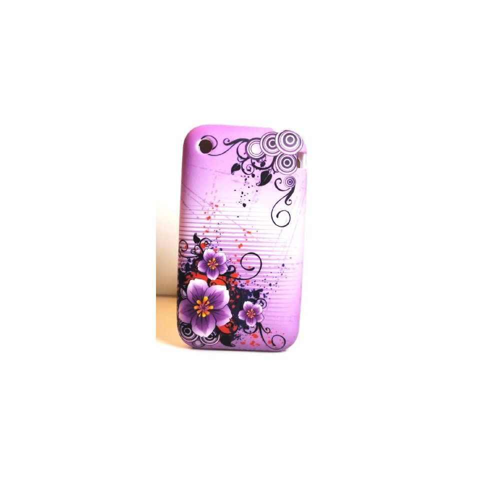 Purple Orchid Flower Soft Silicone Skin Gel Cover Case for Apple Iphone 3G / 3Gs
