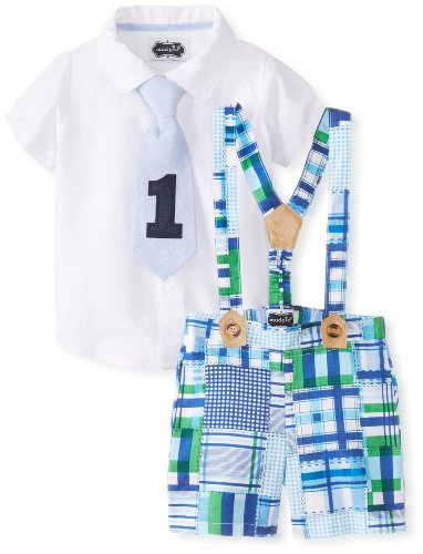 Mud Pie Baby-Boys Infant I'M One 3 Piece Set Madras Plaid Shorts Button Down And Tie Set, Multi, 12-18 Months front-552021