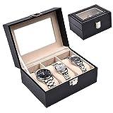 Aoakua ウォッチコレクションケース 腕時計3本収納 / ブラックレザー調(PVC黒) T_3