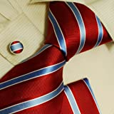 51QakyMW2cL. SL160  Red stripes silk ties for men Blue mens gifts formalwear silk necktie cuff links Hanky set H6010  Red
