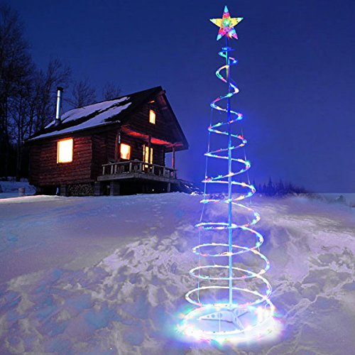 5 ft Clear LED Lighted Spiral Christmas Tree Multi-Color