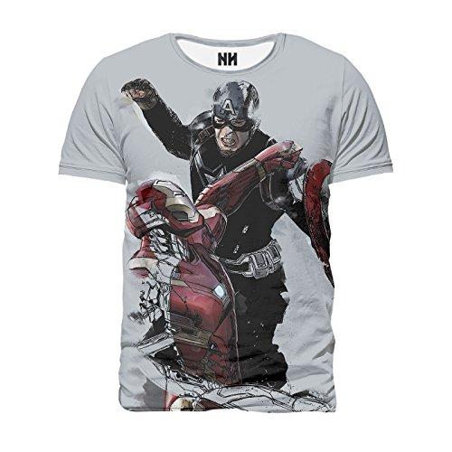 CAPITAN AMERICA VS IRON MAN - Marvel Comics T-Shirt Man Uomo - Civil War Captain America Steve Rogers Fumetti Film Supereroi Stan Lee
