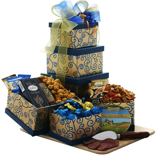 Art of Appreciation Gift Baskets Crowd Pleaser Meat, Cheese and Snacks Gift Tower image