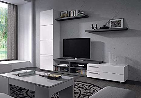 Mueble de Salon color gris ceniza y blanco,MOD CHARLES