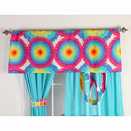 One Grace Place Terrific Tie Dye Valance, Aqua Blue, Royal Blue, Purple, Yellow, Green, Orange, Pink, Red And White