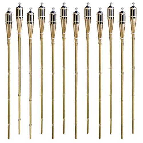 Set of 12 Bamboo Tiki Torches Tiki