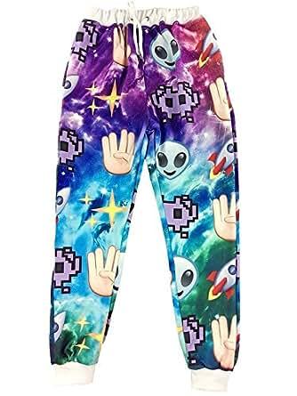 GuPoBoU168 3D Emoji Galaxy Hands Alien Hipster Sweatpants Joggers