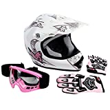 XFMT Youth Kids Motocross Offroad Street Dirt Bike Helmet Goggles Gloves Atv Mx Helmet Pink Butterfly M