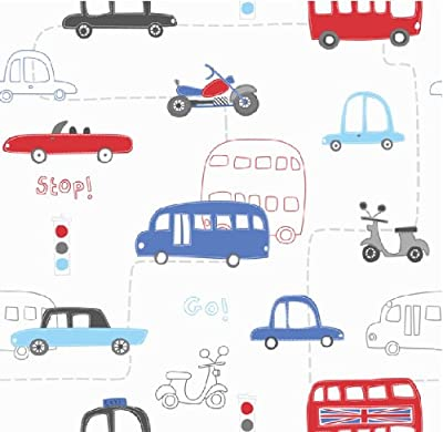 Hoopla Vehicle Transport Road Map Childrens Bedroom 10m Wallpaper Roll Decor Art from DECORLINE