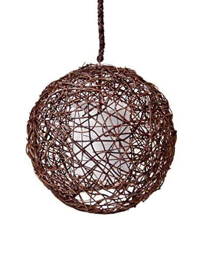 Palecek Vine Sphere Pendant, Dark Brown