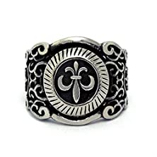 buy Mens Womens Stainless Steel Finger Rings Band Cross Pattern Black Size 6 - Adisaer Jewelry