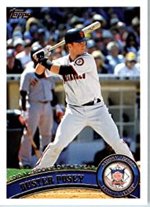 2011 Topps Baseball Card #282 Buster Posey - NL Rookie of the Year - San Francisco Giants - MLB Trading Card In A Protective Screwdown Case