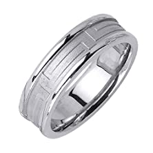 buy 14K White Gold With Versace Greek Key Accent And Rounded Edges. 6.5Mm Width Comfort Fit Unisex Wedding Band