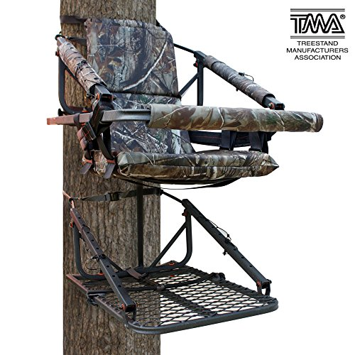 Leader Accessories Hunting Deer Steel Climbing Tree Stand with Safety Vest Harness, 250lb Capacity