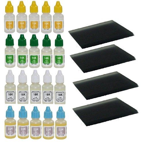 Wholesale Supply: 40 Bottles Gold Test Acid 10k 14k 18k 22k, Plus 4 Extra Large Scratch Stone Testing Surfaces