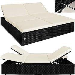 Poly Rattan Doppel Sonnenliege Liege Doppelliege Gartenliege Relaxliege Lounge