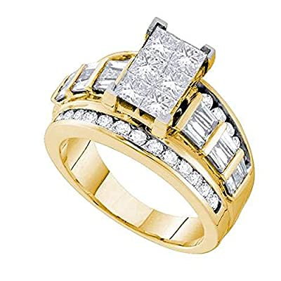 3.00 Carat (ctw) 14K Yellow Gold Princess, Baguette & Round White Diamond Invisible Engagement Ring 3 CT