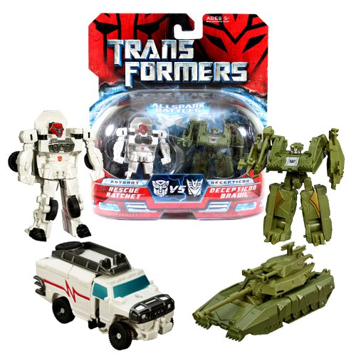 Hasbro Year 2007 Transformers Movies All Spark Battles Series 2 Pack Legends Class 3 Inch Tall Robot Action Figure - Autobot RESCUE RATCHET (Vehicle Mode: Hummer H2) vs Decepticon BRAWL (Vehicle Mode: Battle Tank) (Transformer Tank compare prices)