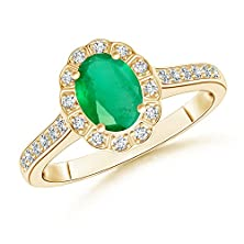 buy Vintage Inspired Emerald Halo Ring In 14K Yellow Gold