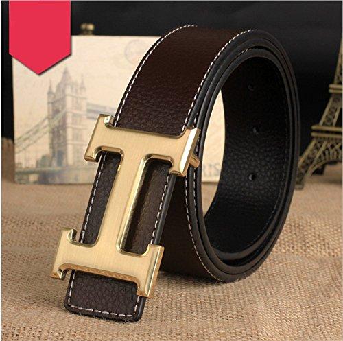 Maikun Synthetic Cowhide Leather Belt Strap (Blue belt and Silver buckle) 115cm (One size(115cm), Black Gold)