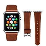 Viodo wu188 Apple Watch Band Leather 42mm, [New Version] iWatch Strap Premium Vintage Crazy Horse Genuine Leather Replacement Band for Apple Watch Series 3 Series 2 Series 1 Sport and Edition (Red Brown)