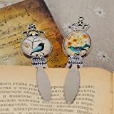 Gift Newest Glass Cabochon Bookmark Cute Cartoon Bird Flowers Pattern Design Fashion Office School Supplies 92cm LW