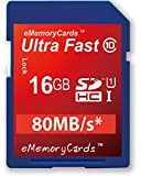 EMemoryCards 16GB/16GIG SD SDHC Ultra Fast Class 10 Memory Card For Canon EOS 5D Mark II Camera