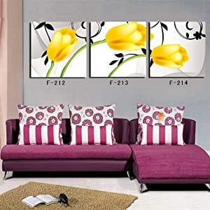Yellow tulip Frameless paintings canvas modern art of three pieces