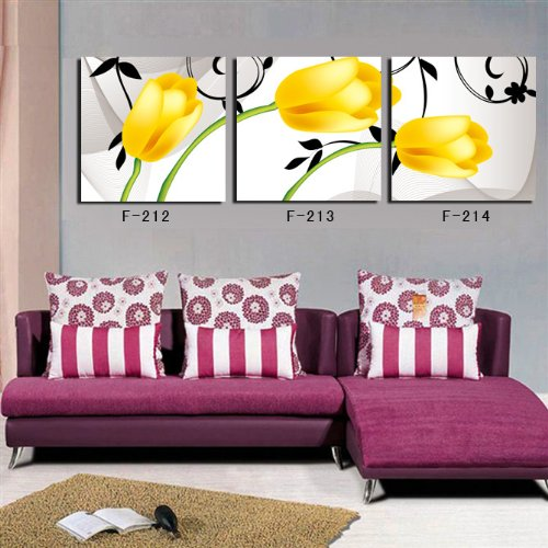 Tulip Rose Wall Art Painting For Kitchen Room Golden: Beautiful Spring Decor – Brighten Your Home!