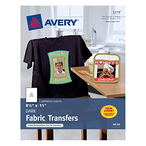 Avery InkJet Iron-On Dark T-Shirt Transfers, White, Five Sheets per Pack (03279) (Clear Iron On Transfer Paper compare prices)