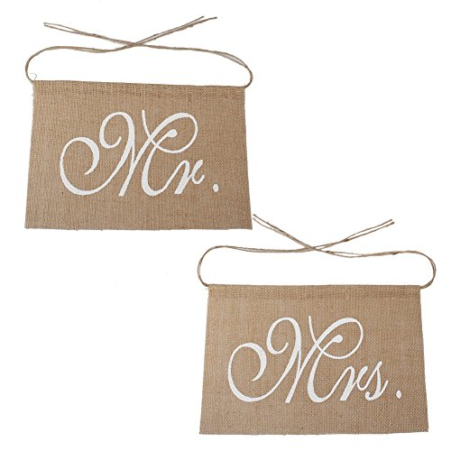OurWarm® Lace Burlap Bows - Mr. & Mrs Burlap Chair Banner Set Chair Sign Garland Rustic Wedding Party Decoration