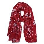 Multi Skull Scarf – RED (43″x70″) W/ Free Red Stone Bracelet From Styleinch