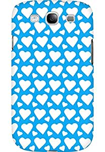 AMEZ designer printed 3d premium high quality back case cover for Samsung Galaxy S3 Neo (sky blue white hearts)
