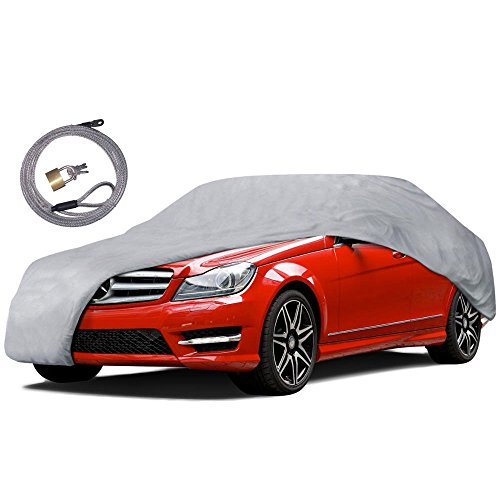Motor Trend CC-341+LOCK All Weather Proof Universal Fit Car Cover (Auto Armor,UV, Water Proof (Gray) (Fits up to 157