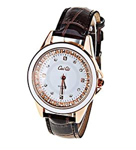 CaiQi Women Water Resistant Watch Brown Leather Band Wrist Watch 598