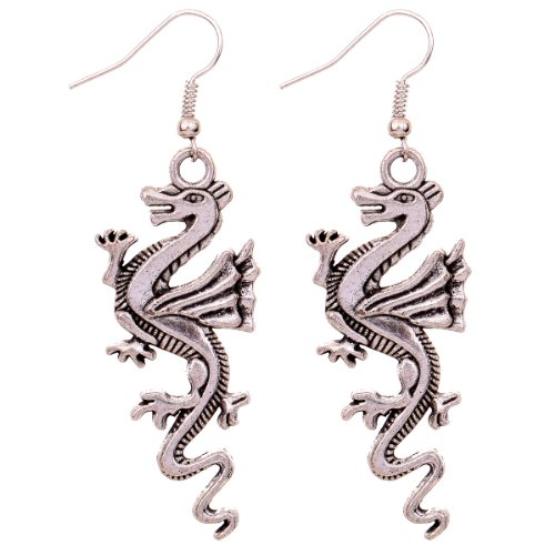 Yazilind Jewelry Christmas On Sale Charming Exquisite Tibetan Silver Lively Dragon Ear Wire Hook Dangle Earrings For Women Girls Gift Idea