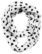 Polka Dot Lightweight Black and White Infinity Circle Scarf (White/Black)