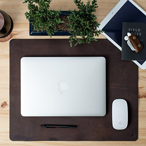 Dark Brown Leather Desk Mat | FREE Shipping | Small 12