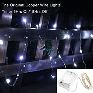 20 Micro Leds Fairy Starry Lights With Timer, Battery Operated On 7.9 Feet Copper Wire Light String Extra Thin, 3xAA Battery Operated String Lights For Flower Pot, Trees, Wedding, Christmas, Holiday, Party Decoration from Minetom