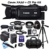 Canon XA20 Professional Camcorder + CS Documentary Kit: Includes Full Size Aluminum Tripod With Case, Boom Microphone, 64GB SDXC Memory Card, SD Card Reader, 2 Canon BP828 Replacement Batteries, Rapid Travel Charger, LED Video Light, High Definition Wide Angle Lens, Telephoto HD Lens, 3 Piece Professional Filter Kit, 4 Piece Macro Close-up Set, Lens Pen, Weather Resistant Carrying Case & CS Microfiber Cleaning Cloth