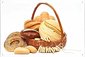 Amazon.com: Bread Bagel Basket White Background 76792 Tin Poster by